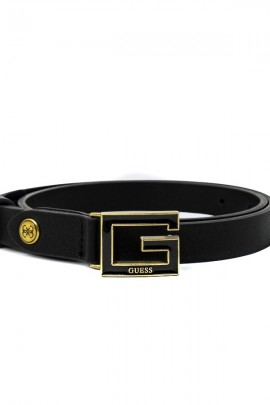 GUESS Hammered belt and gold G buckle