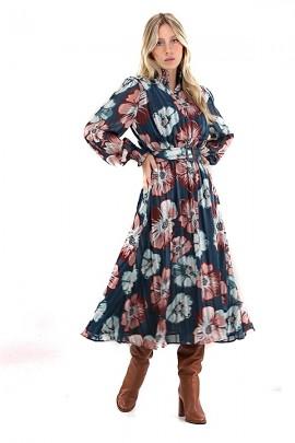 Vestido largo floral y cinturón KOCCA
