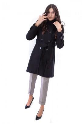 KOCCA Zweireihiger Mantel und Pelzkragen