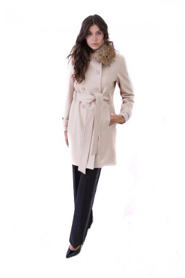 KOCCA Double-breasted coat and fur collar - WHITE