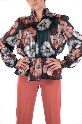 KOCCA Bluse mit Blumen- und Lockenmuster