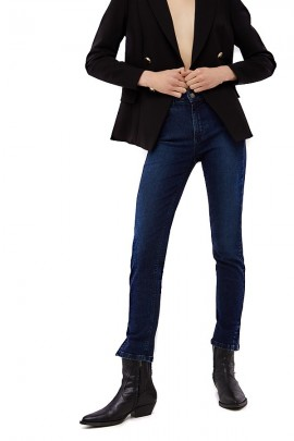 LIU JO Jeans with ankle slit and stras logo