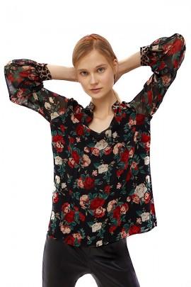 LIU JO Blusa floral y mangas largas en velo transparente