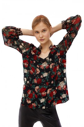 LIU JO Floral blouse and long sleeves in transparent veil