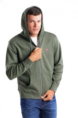 LEVIS Sweatshirt with zip and hood - VERDE