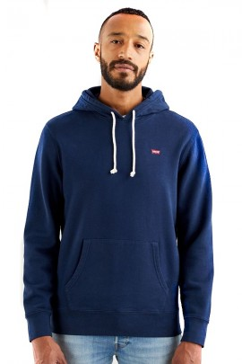 LEVIS Basic sweatshirt with hood and micrologist - BLUE