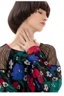 FRACOMINA Blusa de flores y hombros de encaje