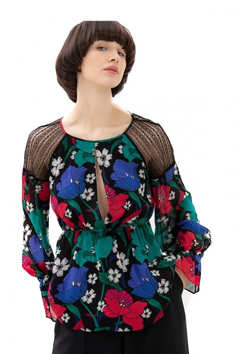 FRACOMINA Floral blouse and lace shoulders