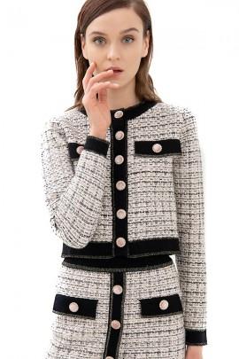 FRACOMINA Micro-patterned cropped jacket