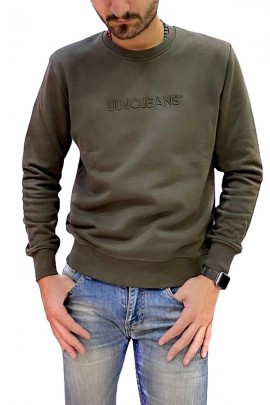 LIU JO Crewneck sweatshirt with embroidery logo - BLUE