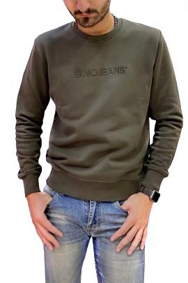 Sudadera LIU JO con cuello redondo y logo bordado - BLU