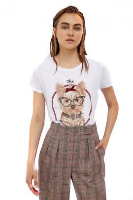 Camiseta con estampado de perro LIU JO y gafas de stras - BIANCO