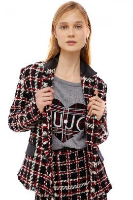 LIU JO Patterned jacket with leather inserts