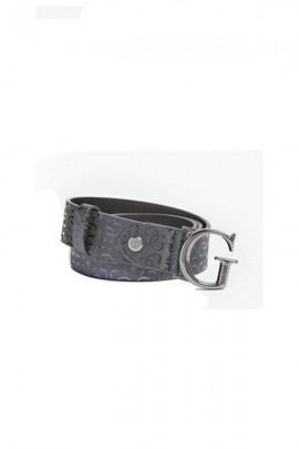 GUESS Micro-branded belt and metal G buckle - BLACK