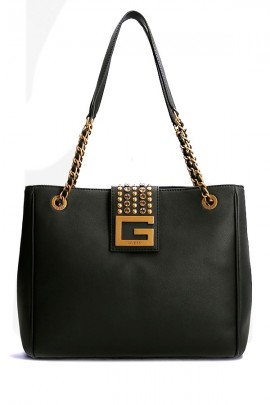 GUESS Satchel bag with logo and rhinestone closure
