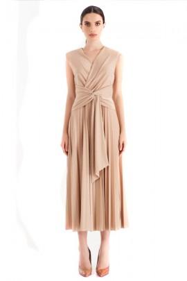 RENACIMIENTO Vestido plisado laminado con lazo