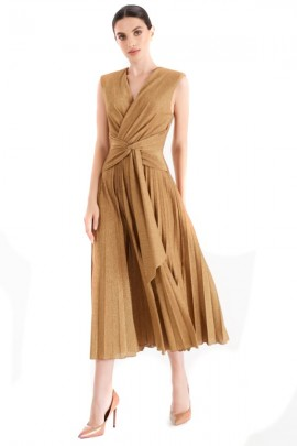 RENAISSANCE Pleated laminated dress with bow - GOLD