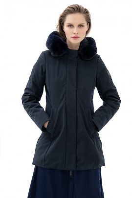 FRACOMINA Longuette jacket with hood and faux fur - BLACK