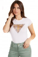 GUESS T-shirt with spotted triangle logo and rhinestones