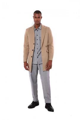 Abrigo IMPERIAL en tejido de espiga y bolsillo con cremallera - BEIGE