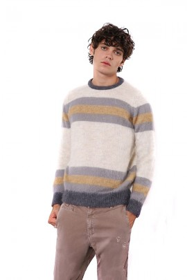 IMPERIAL Chunky striped crew neck sweater - BEIGE
