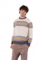 IMPERIAL Chunky striped crew neck sweater