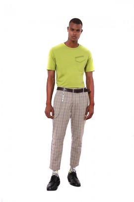 IMPERIAL Checked chino trousers and chain