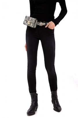 LIU JO Black skinny jeans with spotted bag included - BLACK