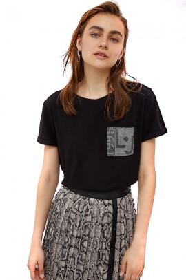 LIU JO T-Shirt mit gefälschter Tasche im Stras-Logo