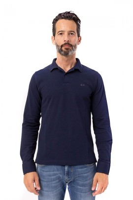 SUN 68 Polo shirt with patterned undercollar
