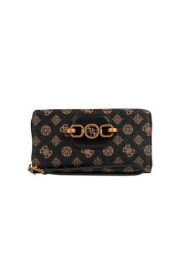GUESS Micrologated wallet and metal detail - BROWN
