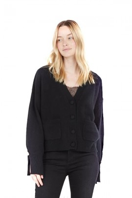 LIU JO V-shaped cardigan with external pockets - BLACK