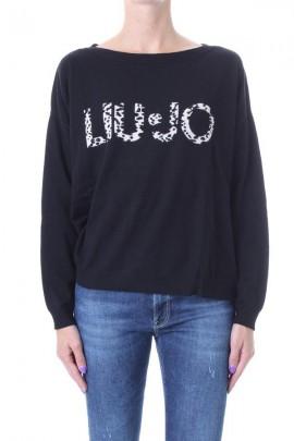 Jersey extragrande de LIU JO con logo manchado - NERO