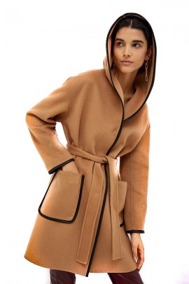 LIU JO Hooded coat and contrasting piping
