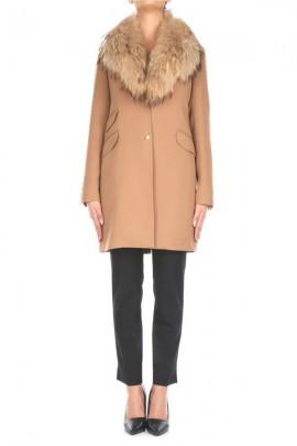 KOCCA Long coat with fur collar - YELLOW
